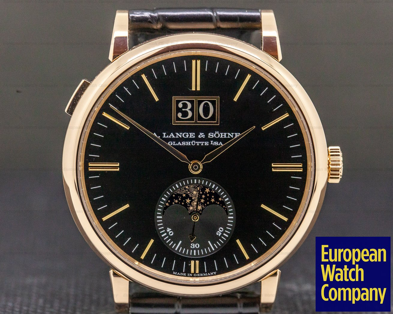 A. Lange and Sohne 384.031 Saxonia Moon Phase Automatik 18K Rose Gold / Black Dial