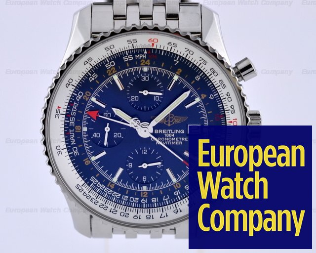 17424 Breitling A24322 Navitimer World Chronograph Gmt Ss Blue Dial