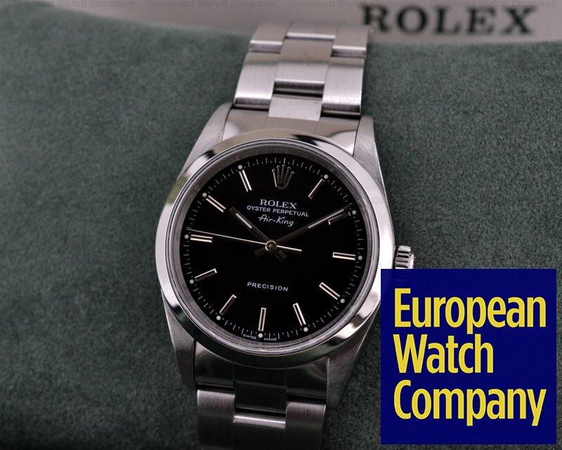 19362) Rolex 14000 Air King Black Dial SS