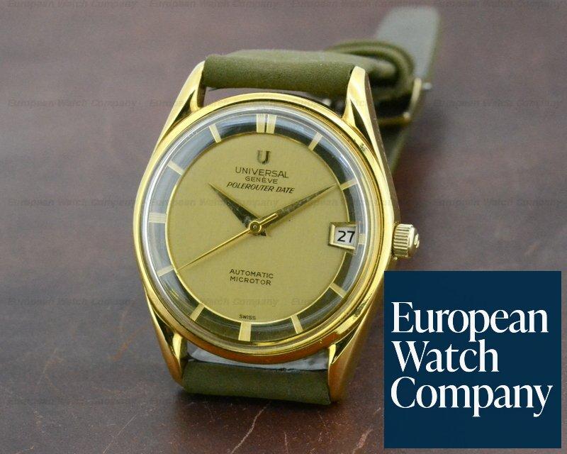 22490) Universal Geneve 104601 Vintage Polerouter Date 18K Yellow