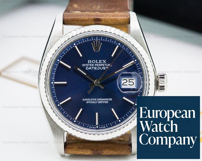 23881 Rolex 1601 Vintage Datejust Blue Dial Ss