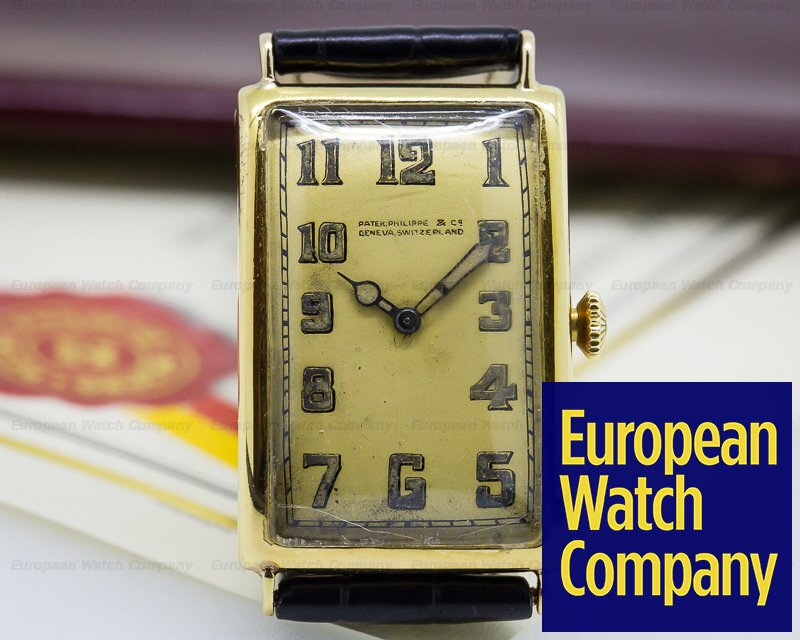Patek Philippe Rectangular Shape No. 10 Vintage Gondolo Tarnished 18K Yellow Circa 1924 RARE