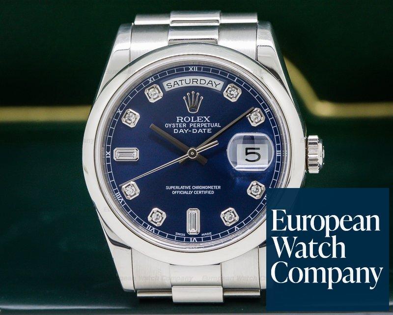 2c78473ccfe Rolex 118206 Day Date President Platinum Blue Diamond Dial (26478). 26478  Rolex 118206 President Oyster Perpetual ...