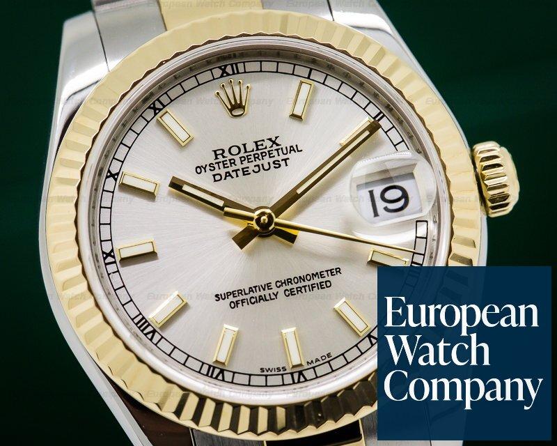 Rolex 178273 Ladies Midsize Rolex Datejust Silver Stick SS / 18k