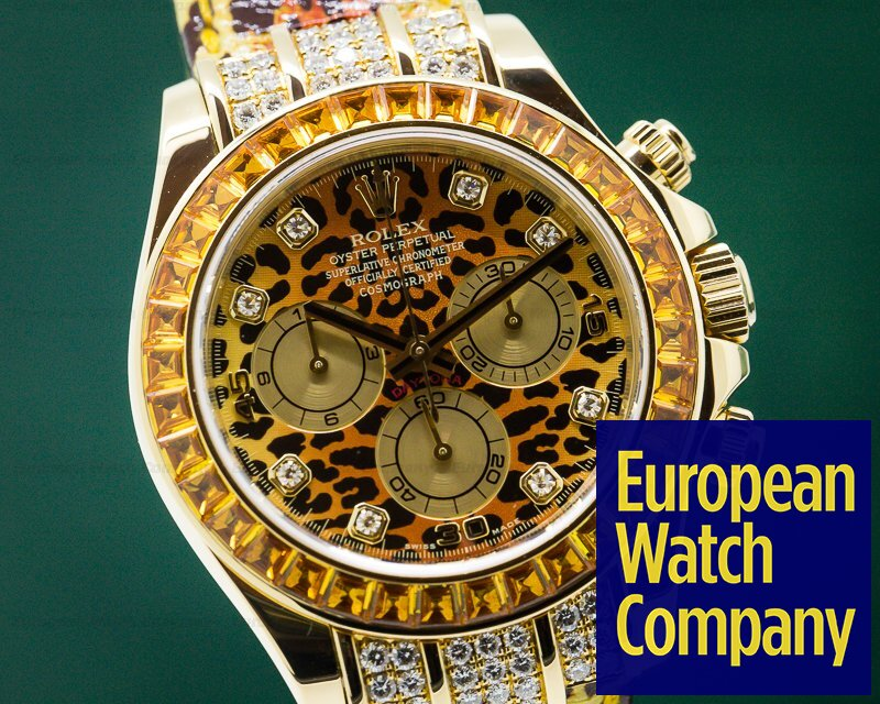 Rolex 116598 Cosmograph Daytona 18k Yellow Gold / Diamonds LEOPARD