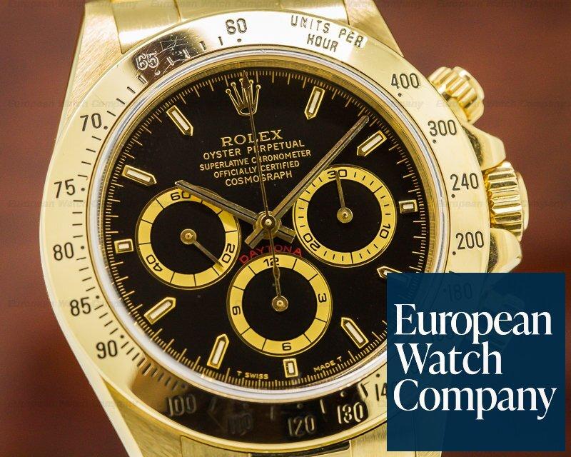 best service 7a61f b8062 27393) Rolex 16528 Daytona Zenith Black Dial 18K Yellow Gold ...