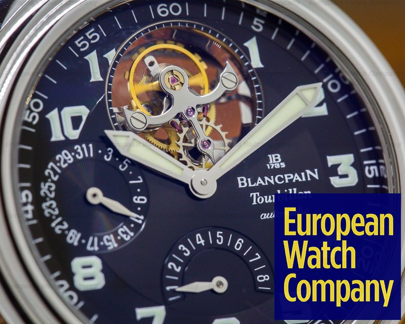 Blancpain 2125-1130 Tourbillon Automatic Black Military Dial SS RARE