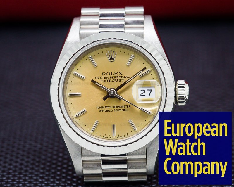 Rolex 69179 Ladies Datejust President 18K White Gold with Stick Dial