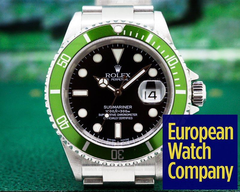 Rolex 16610LV Submariner 50th Anniversary SS Green Bezel FLAT FOUR