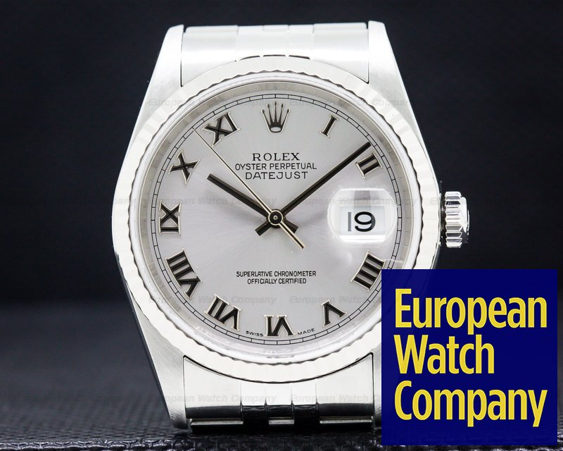 Rolex 16234 Datejust SS Grey Dial/White Gold Bezel