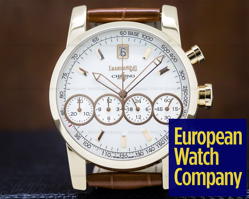 Eberhard 30058 Chrono 4 White Dial Rose Gold