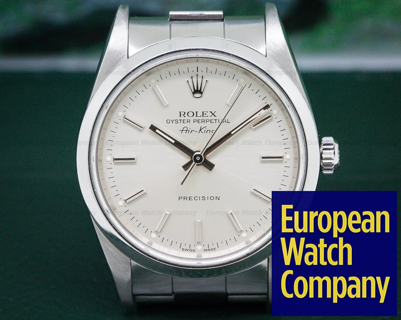 Rolex 14000M Oyster Perpetual Air King SS Silver Stick