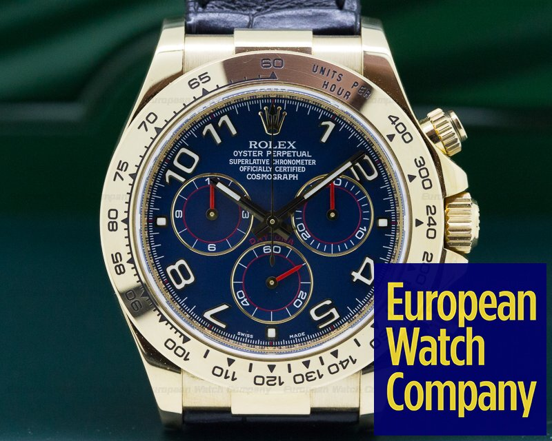 Rolex 116518 Daytona 18K Yellow Gold Blue Dial / Black Strap V Series (2010) 40MM