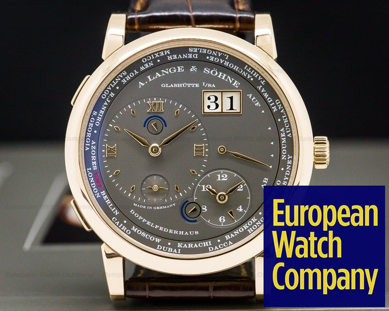 A. Lange and Sohne 116.033 Lange 1 Time Zone 18K Rose Gold Grey Dial