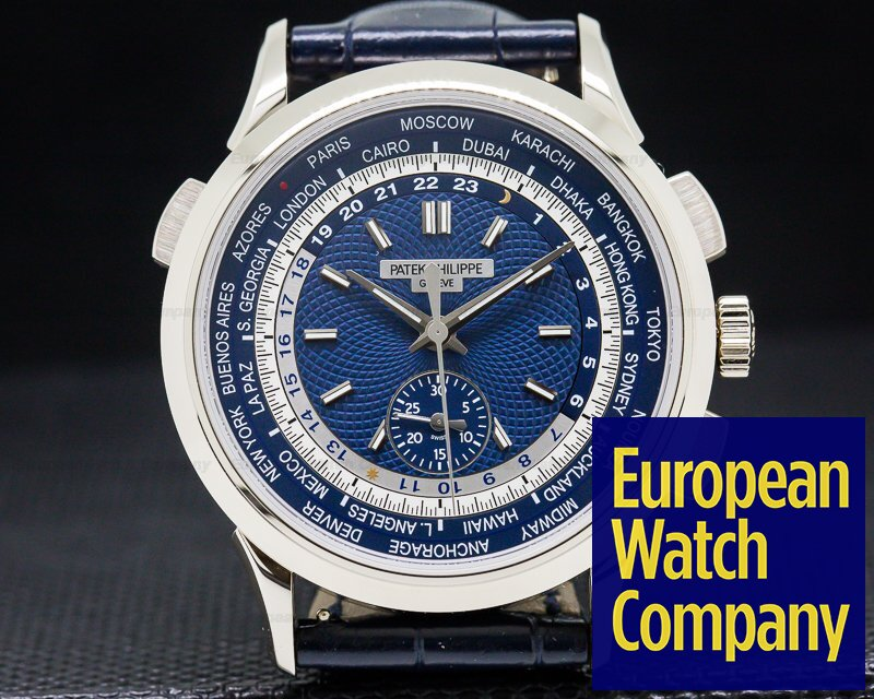 Patek Philippe 5930G-001 World Time Chronograph 18k White Gold UNWORN
