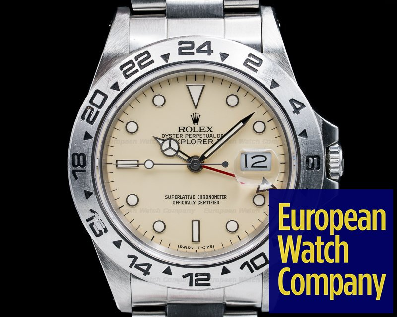 Rolex 16550 Explorer II with RARE Transitional Cream Rail Dial SS NICE
