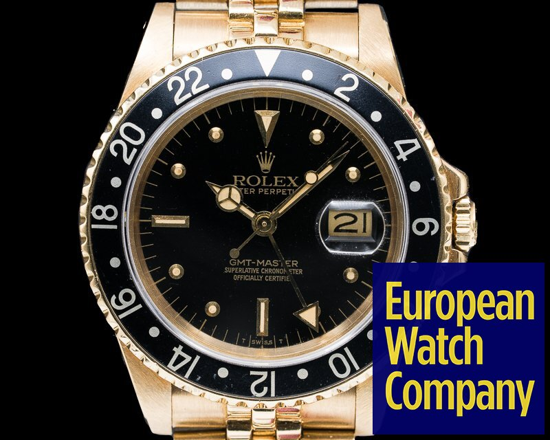 Rolex 16758 GMT Master Nipple Dial 18k Yellow Gold