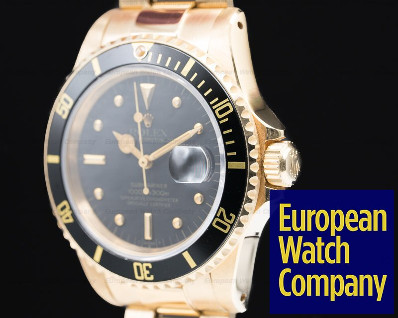 Rolex 16808 Submariner Black Nipple Dial 18K / Yellow Gold Bracelet EXCELLENT