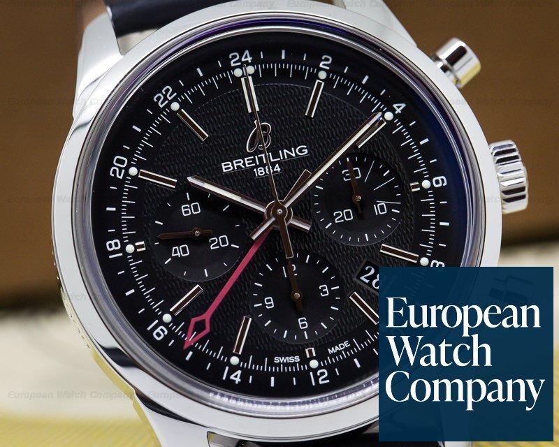 Breitling AB045112/BC67 Transocean Chronograph GMT SS Black Dial UNWORN
