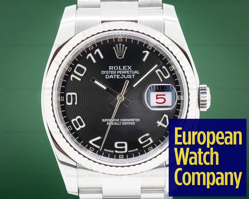 Rolex 116234 Datejust Black Concentric Arabic Dial SS 36MM