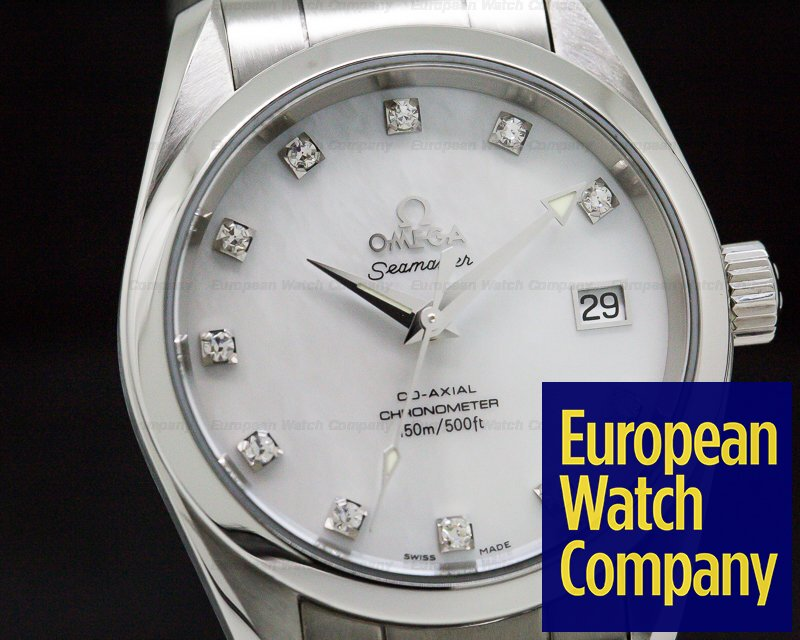 Omega 2504.75.00 Seamaster Aqua Terra Co-Axial Master Mother of Pearl Diamond Markers SS