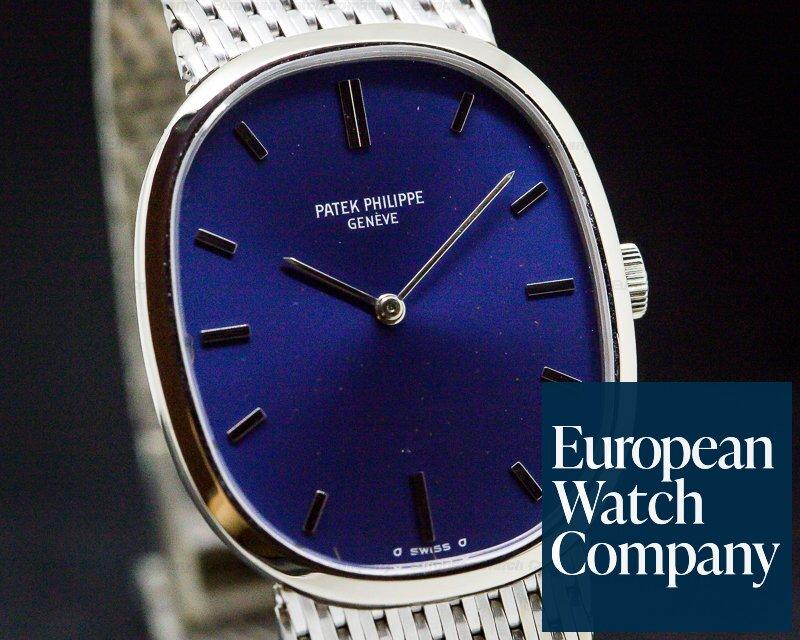 Patek Philippe 3748 Ellipse Mid Size 18K White Gold / Mesh Bracelet
