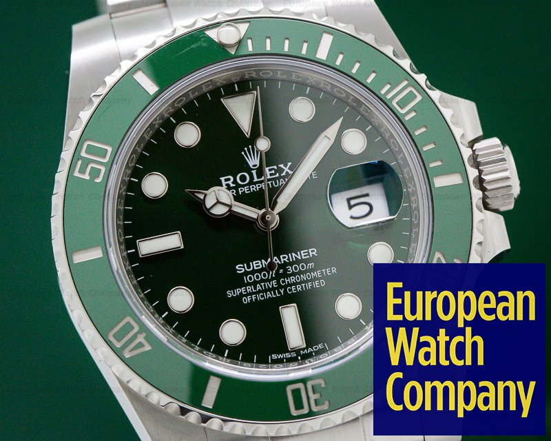 "Rolex 116610LV Submariner Green Ceramic Bezel Green Dial ""Hulk"" SS"