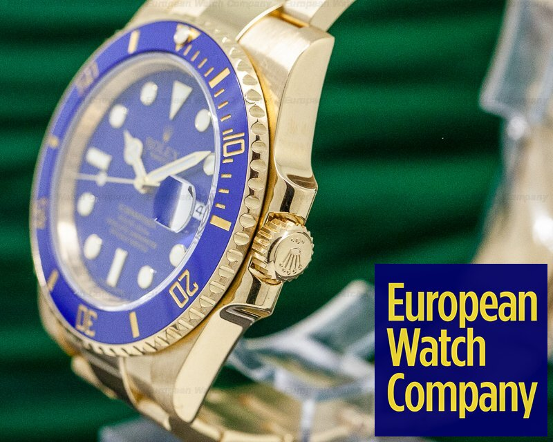 Rolex 116618LB Submariner 18K Yellow Gold Blue Dial