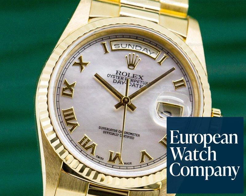 Rolex 18238 Day Date President MOP Roman Dial 18K Yellow Gold