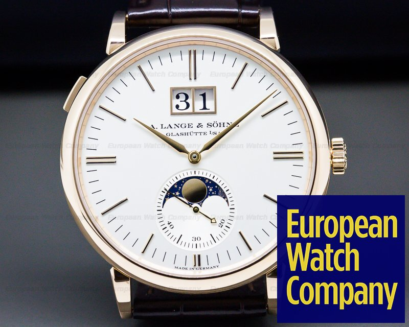 A. Lange and Sohne 384.032 Saxonia Moon Phase Automatik 18K Rose Gold / Silver Dial