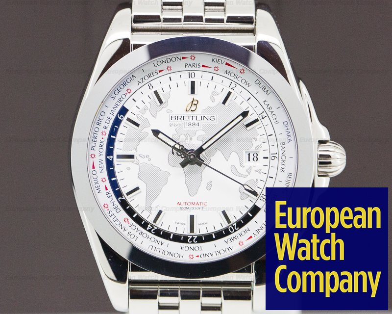 Breitling WB3510U0/A777/375A Galactic Unitime SleekT World Map White Dial SS