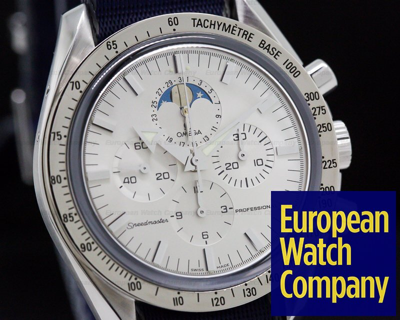 Omega 3875.30.00 Speedmaster Professional Moon Phase White Dial SS