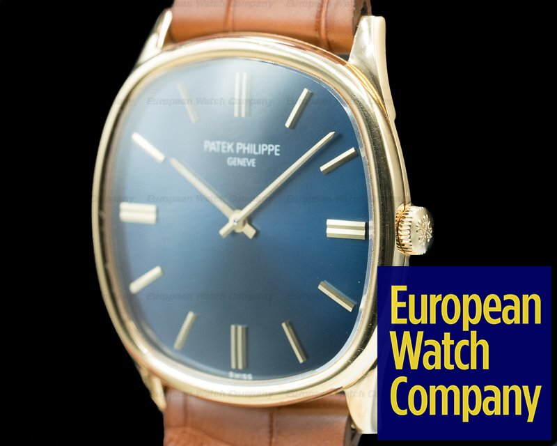 Patek Philippe 3644 Golden Ellipse 18K Yellow Gold Blue Dial