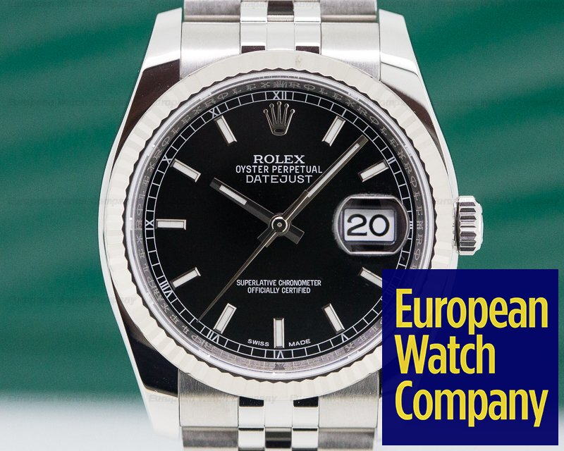 Rolex 116234 Datejust SS Jubilee Black Stick Dial