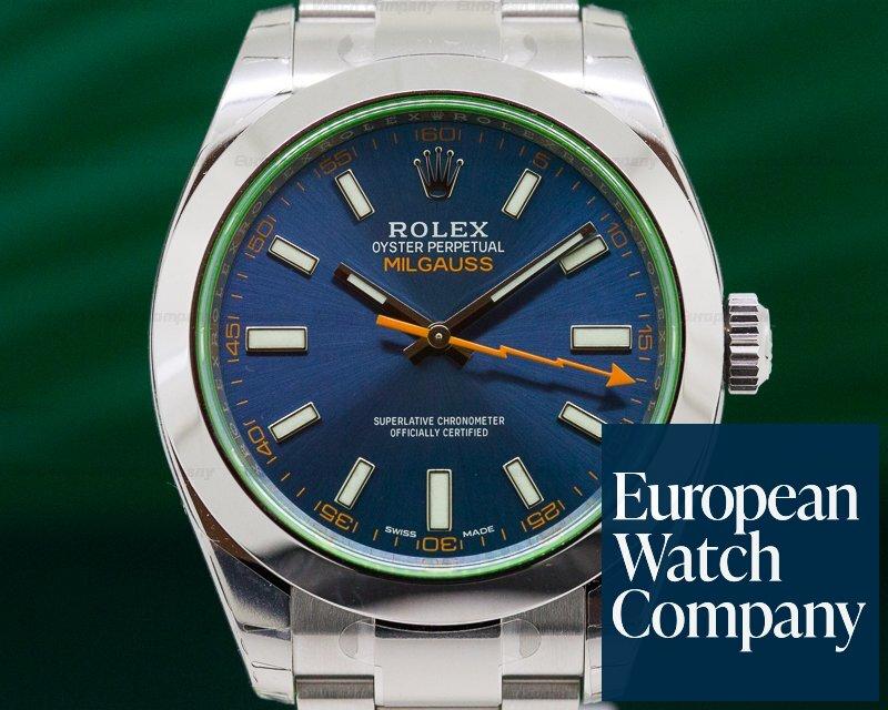 Rolex 116400GV Milgauss Blue Dial Green Crystal UNWORN