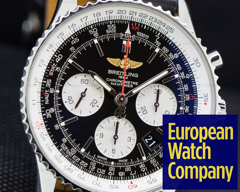 Breitling AB012012/BB01 Navitimer 01 Chronograph Black Dial Black Leather