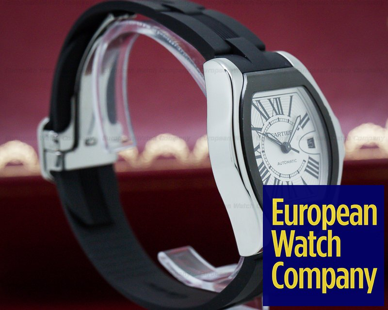 """Cartier W6206018 Roadster """"S"""" Watch SS /Rubber Silver"""