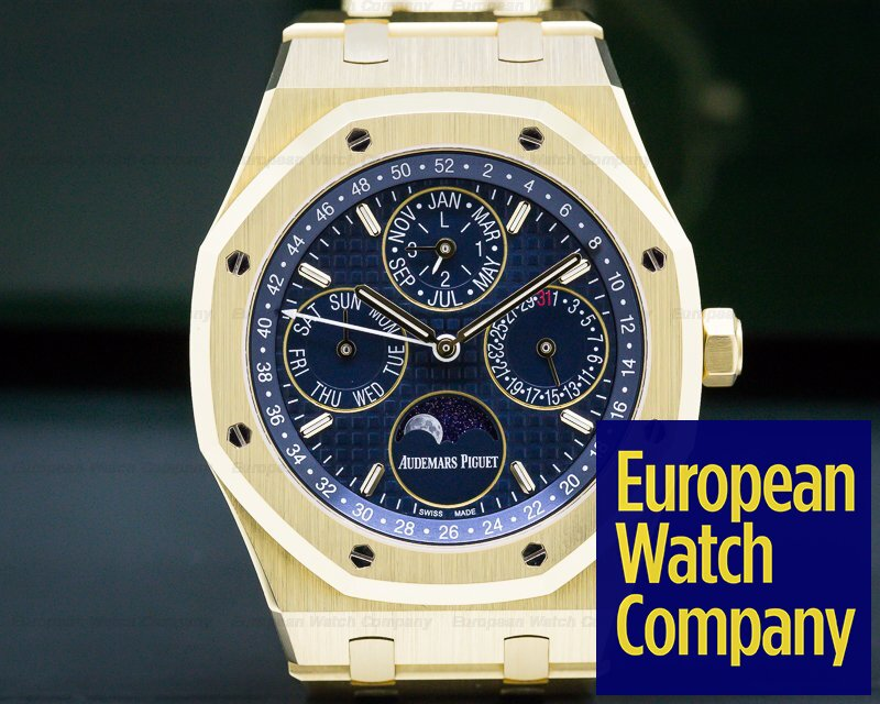 Audemars Piguet 26574BA.OO.1220BA.01 Royal Oak Perpetual Calendar 18k yellow Gold  Blue Dial + Extras