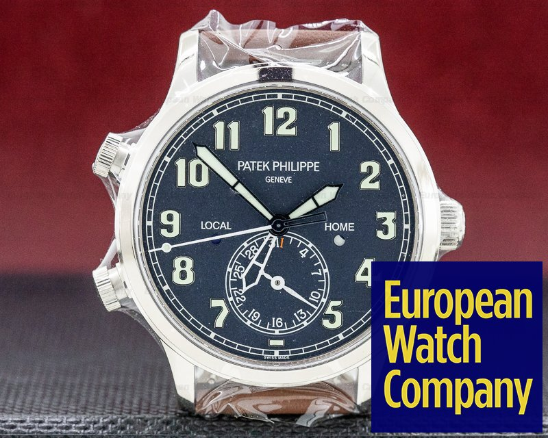 Patek Philippe 5524G-001 Calatrava Pilot Travel Time 18k White Gold UNWORN