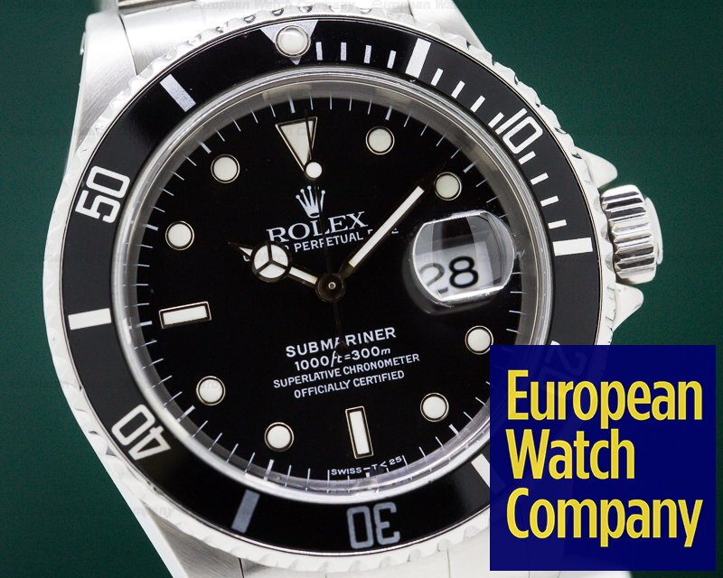 Rolex 16610 Submariner SS Black Dial 1989 COMPLETE SET