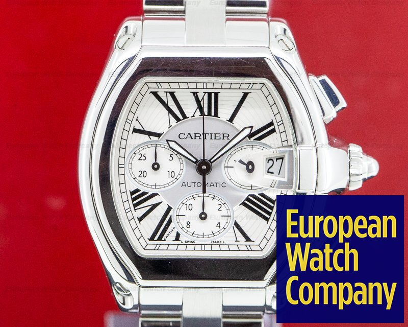 Cartier W62019X6 Roadster Chronograph Silver Dial SS / SS
