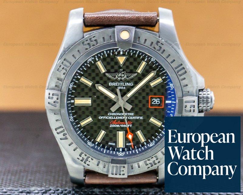 Breitling V173111A Avenger Blackbird Black Titanium Carbon Dial / Leather Strap