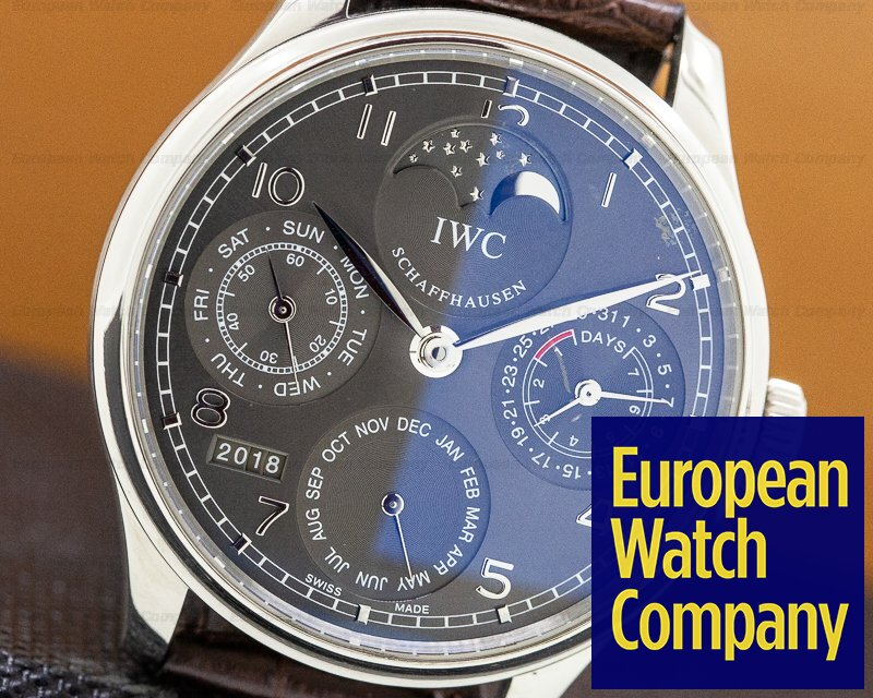 IWC IW502303 Portuguese Perpetual II Grey Dial 18K White Gold