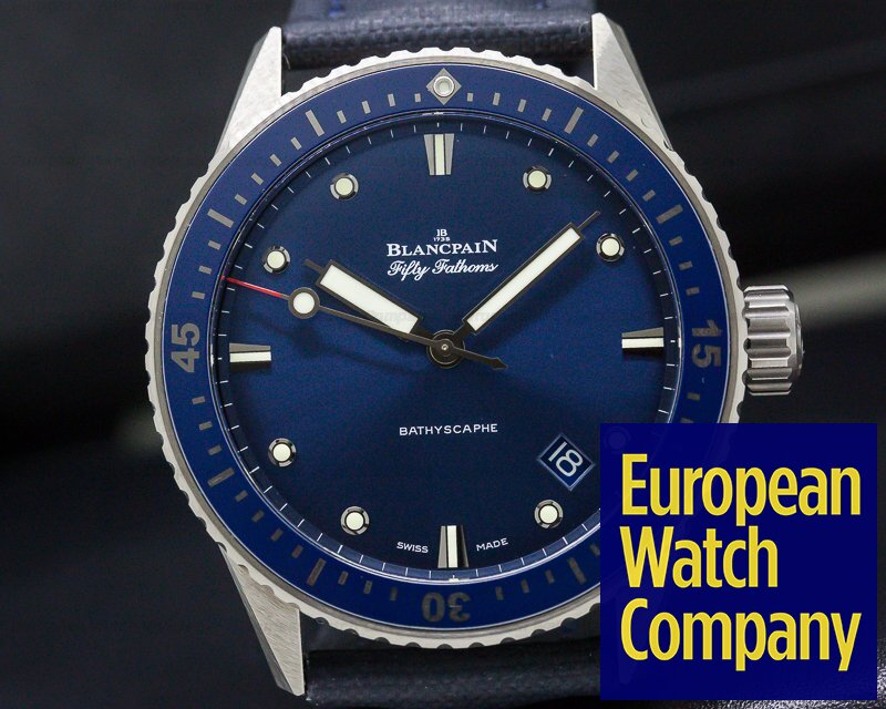 Blancpain 5000-0240-o52a Fifty Fathoms Bathyscaphe Ceramic Blue