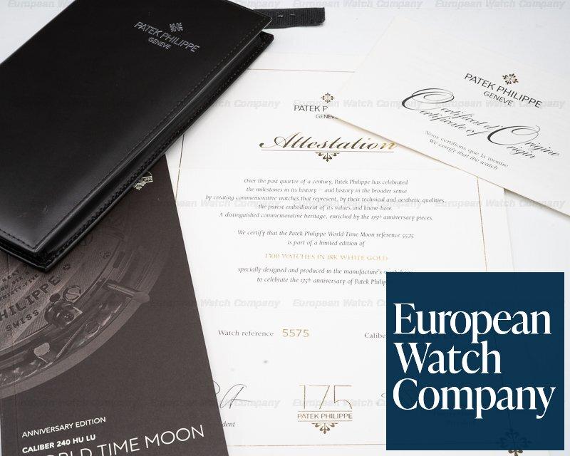 Patek Philippe 5575G-001 175th Anniversary World Time Moonphase 18K White Gold / Black Dial
