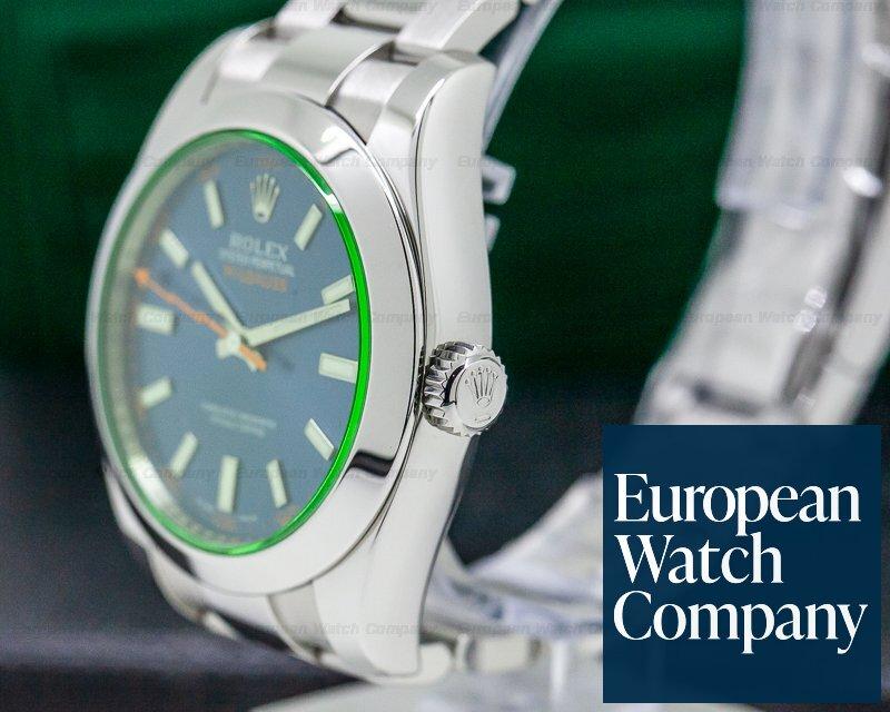 Rolex 116400GV Milgauss Blue Dial Green Crystal