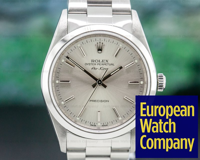 Rolex 14000 Oyster Perpetual Air King SS Silver Stick