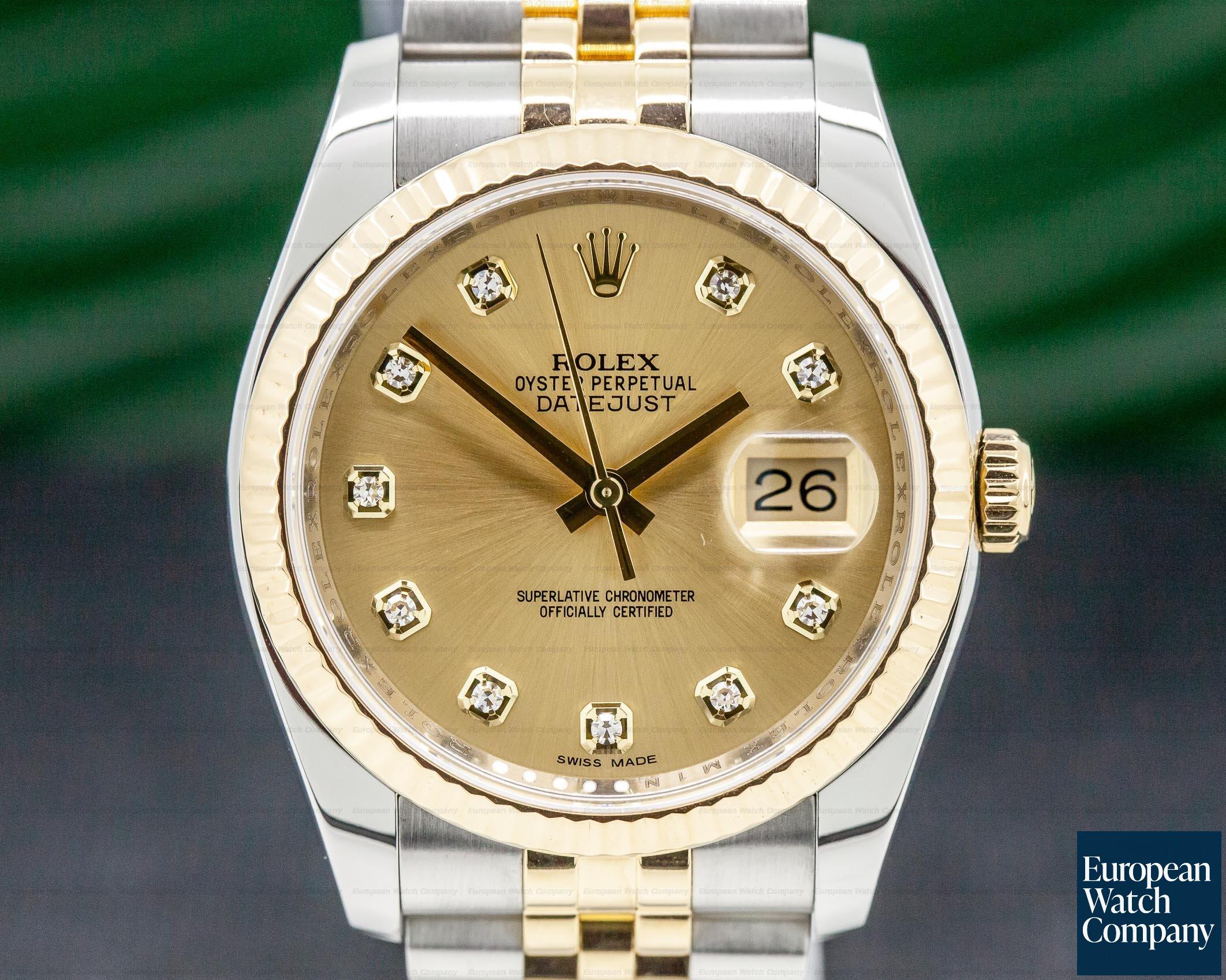 Rolex 116233 Datejust Champagne Diamond Dial 18K / SS