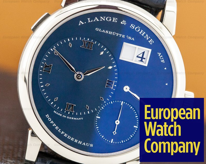 A. Lange and Sohne 191.028 Lange 1 Blue Dial NEW MODEL 18k White Gold DISCONTINUED