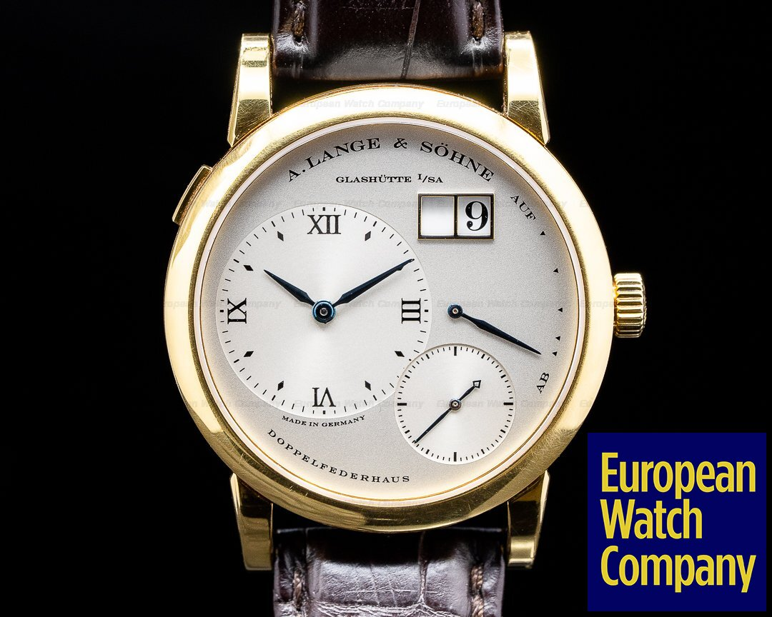 A. Lange and Sohne 101.022 Lange 1 101.022 18K Yellow Gold Blue Hands Silver Dial